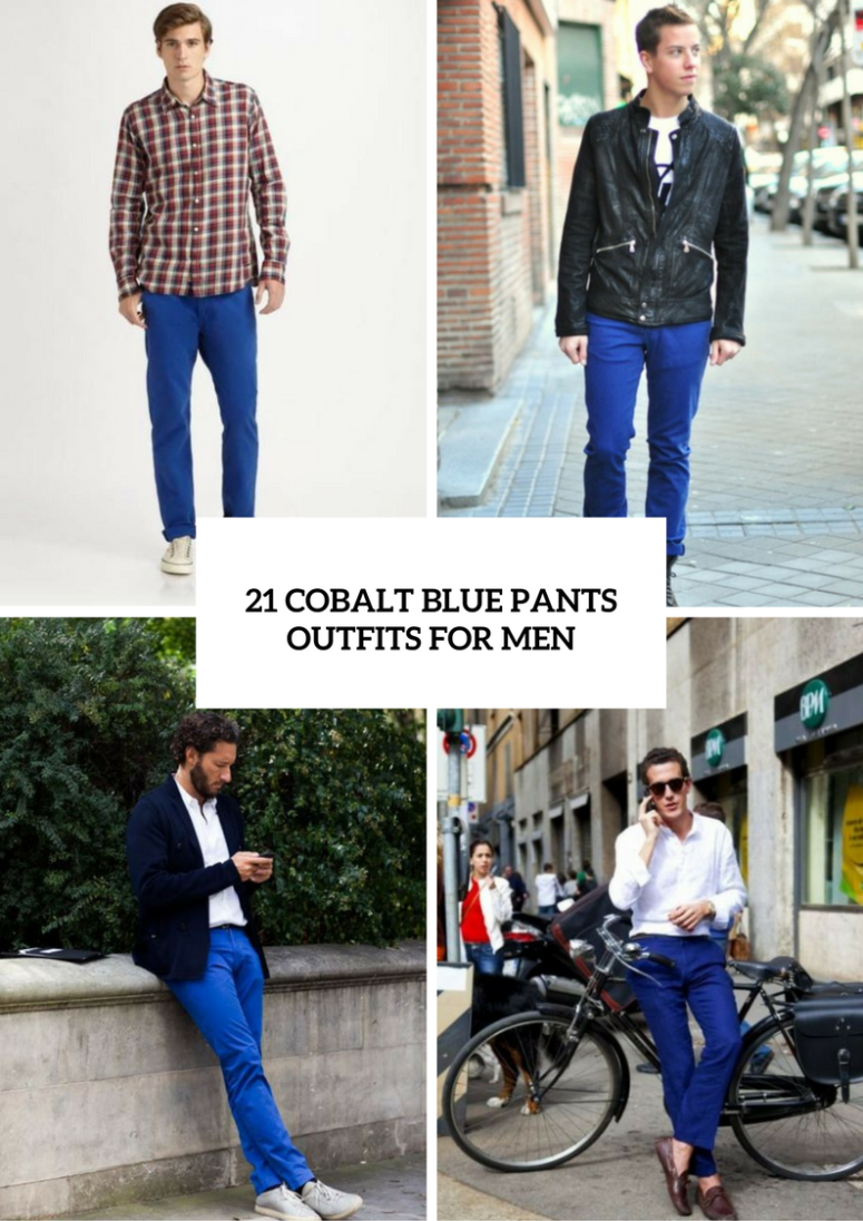 Men Outfits With Cobalt Blue Pants To Repeat