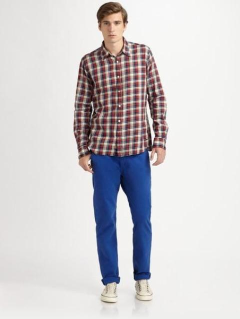 With checked shirt and white sneakers