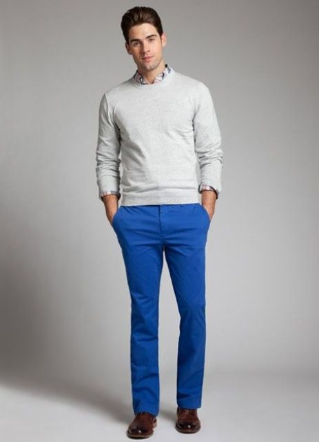 With shirt, white sweatshirt and brown leather shoes
