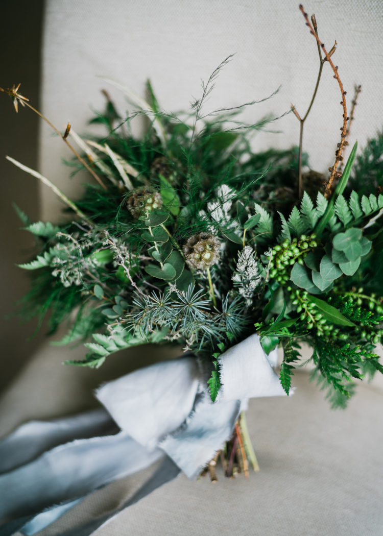 Messy and textural greenery wedding bouquet