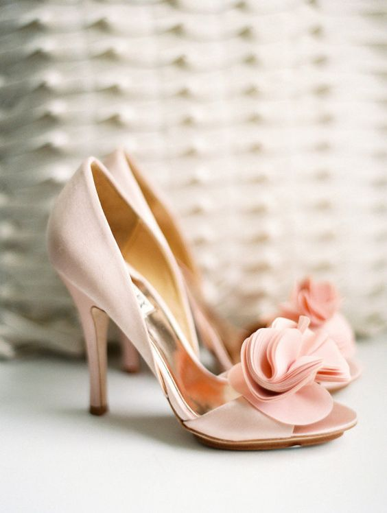 pink peep toe shoes with fabric flower clips