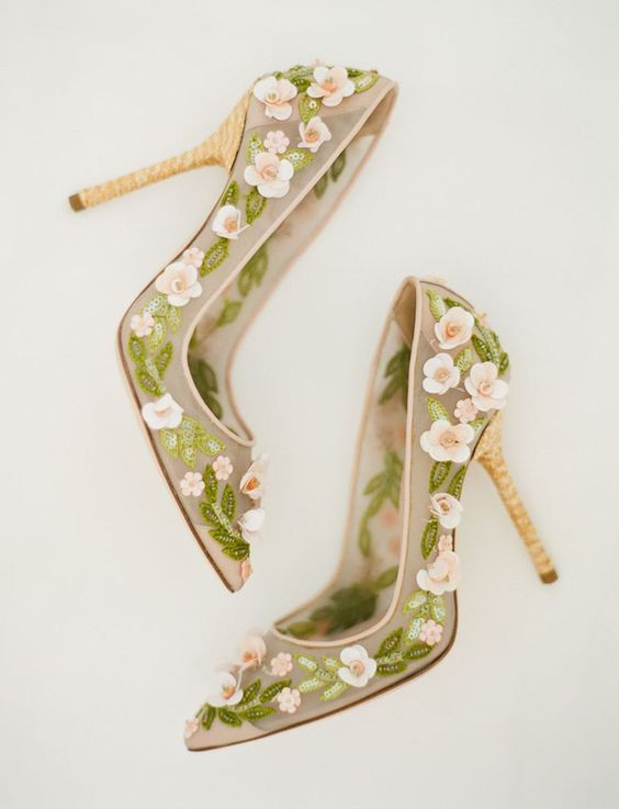 half sheer wedding heels with pink flower appliques and green bead leaves