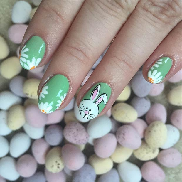 Green Rabbit and Flowers Easter Nail Art Design for Almond Nails