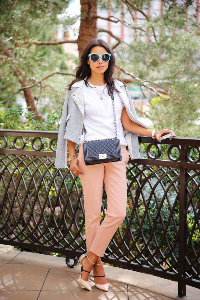 blush pants, a white tee, a grey blazer and white and black shoes