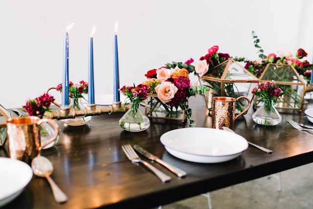 Geometric wedding tablescape | Blinkbox Photos and Cuckoo Cloud Concepts