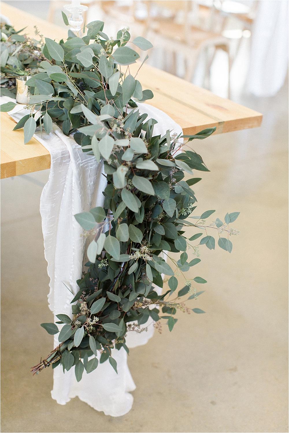 eucalyptus table runners - photo by Flora and Fauna http://ruffledblog.com/modern-bohemian-wedding-with-an-air-plant-bouquet