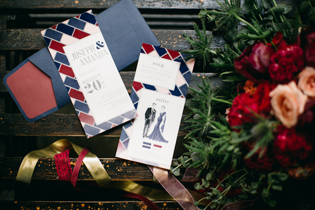 Modern marsala and blue wedding invitations | Blinkbox Photos and Cuckoo Cloud Concepts