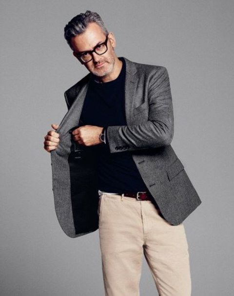 ivory pants, a black tee and a grey jacket for a smart casual look