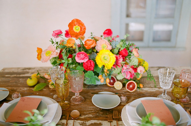 Colorful poppy centerpiece