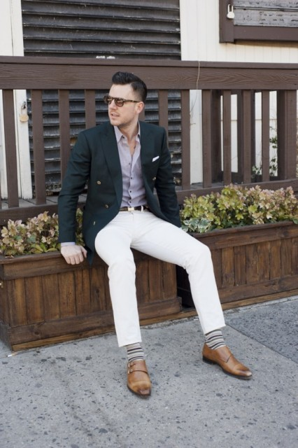 With pastel color shirt, white pants, striped socks and jacket