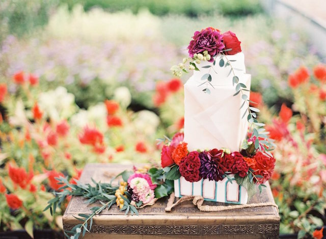 Floral themed wedding cake | Lauren Gabrielle Photography