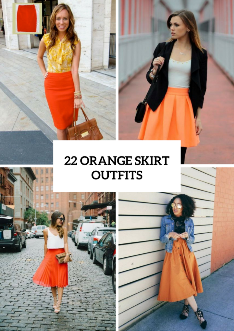 Perfect Orange Skirt Outfits For Fashionable Ladies