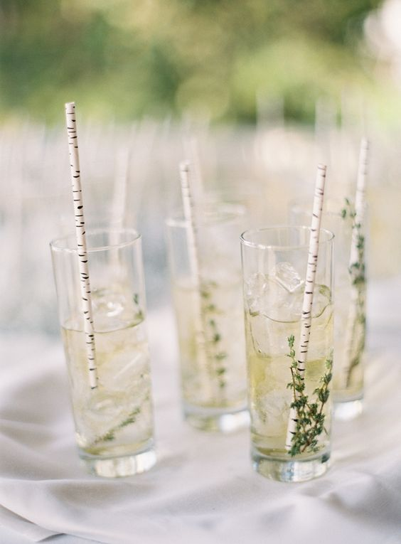 birch bark paper straws for cocktails at a rustic wedding