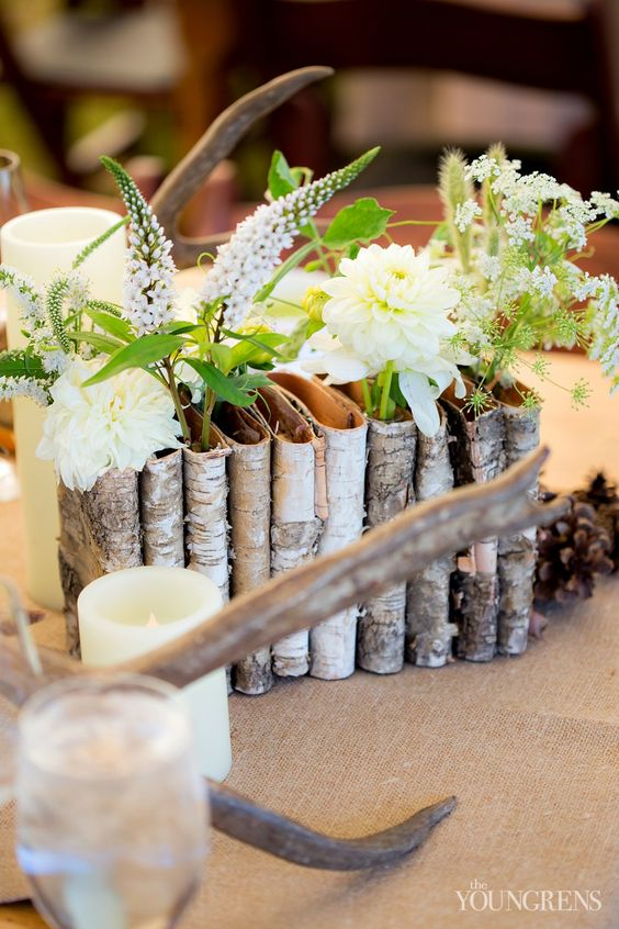 birch bark pockets with different flowers and greenery
