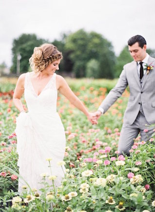 Flower field wedding portraits | Lauren Gabrielle Photography