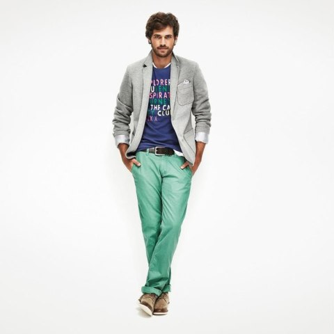 With printed shirt, gray jacket and two color shoes