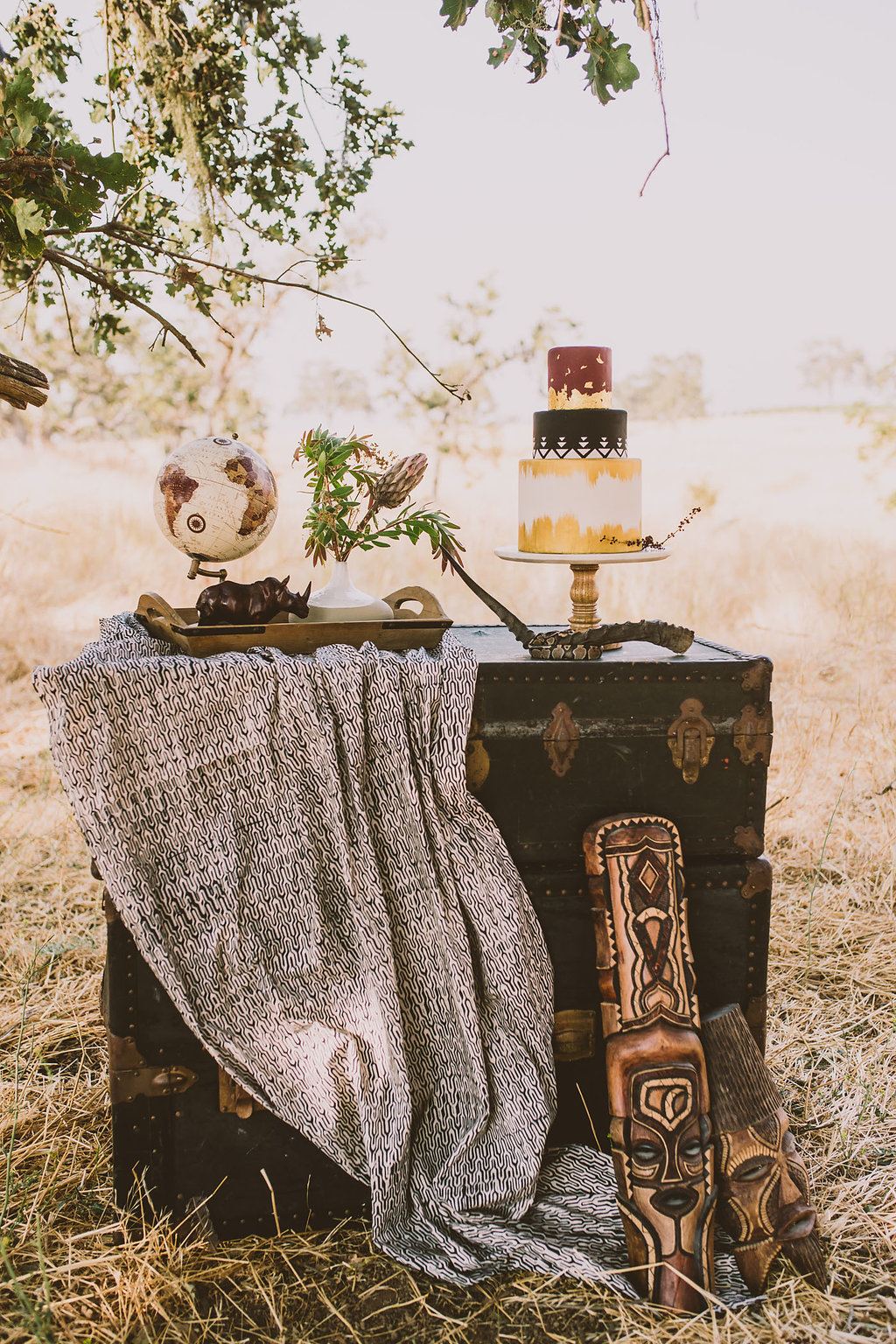 wedding cake tables - photo by Michelle Roller http://ruffledblog.com/wild-safari-inspiration-shoot-with-a-jeep