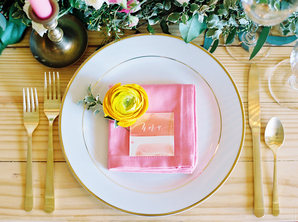 pink wedding details - photo by Jessica Gold Photography http://ruffledblog.com/vibrant-summer-wedding-inspiration-with-fun-colors
