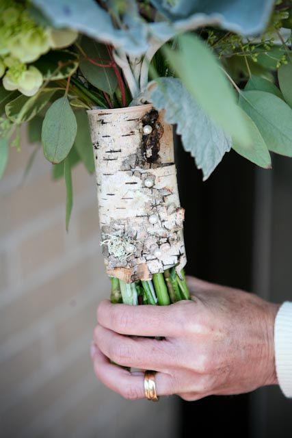 birch bark bouquet wrap with pearl pins