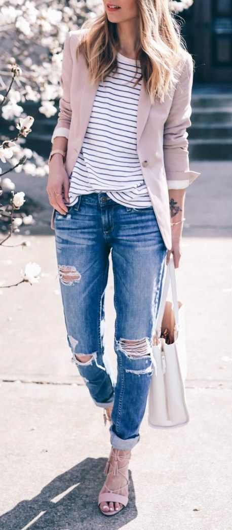 a blush blazer, a striped top, ripped jeans and blush lace up heels