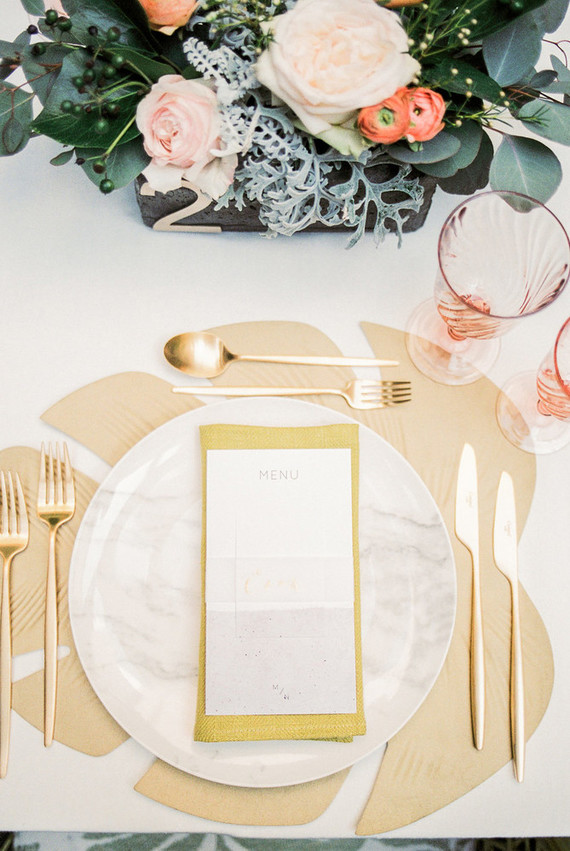 Large palm-leaf looking placemats reminded us that it was a tropical wedding shoot