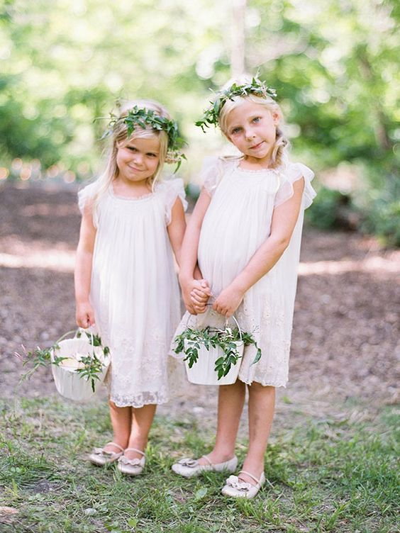 white lace dresses with tulle cap sleeves and sandals, leaf crowns