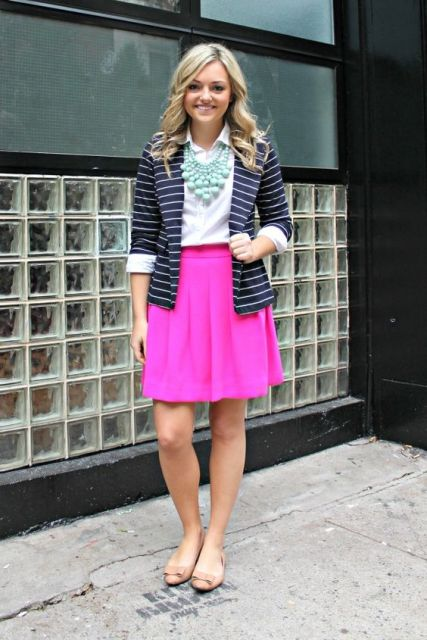 With white shirt, mint necklace, striped jacket and flats