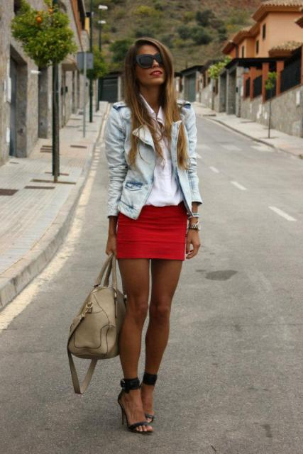 With white blouse, light blue jacket, black heels and beige bag