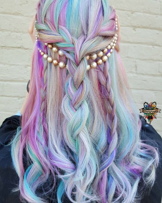 shades of purple, turquoise and pink on white hair