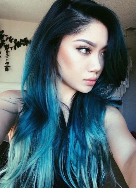 mesmerizing mermaid blue hair with an ombre effect