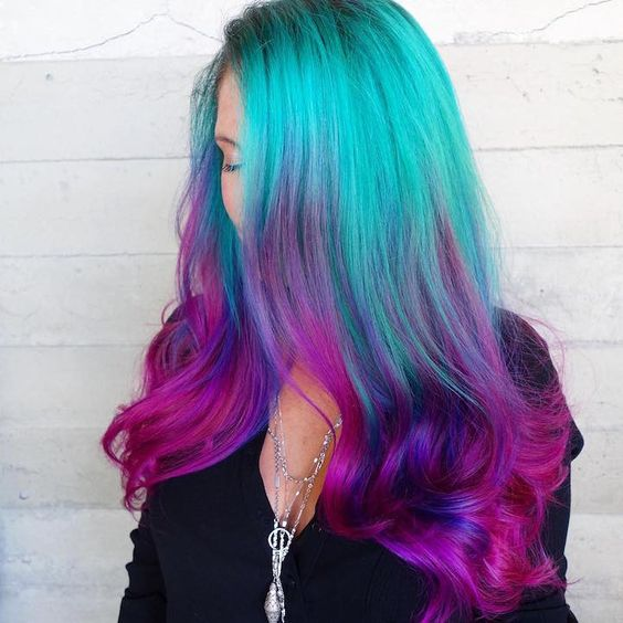 neon green to pink ombre hair