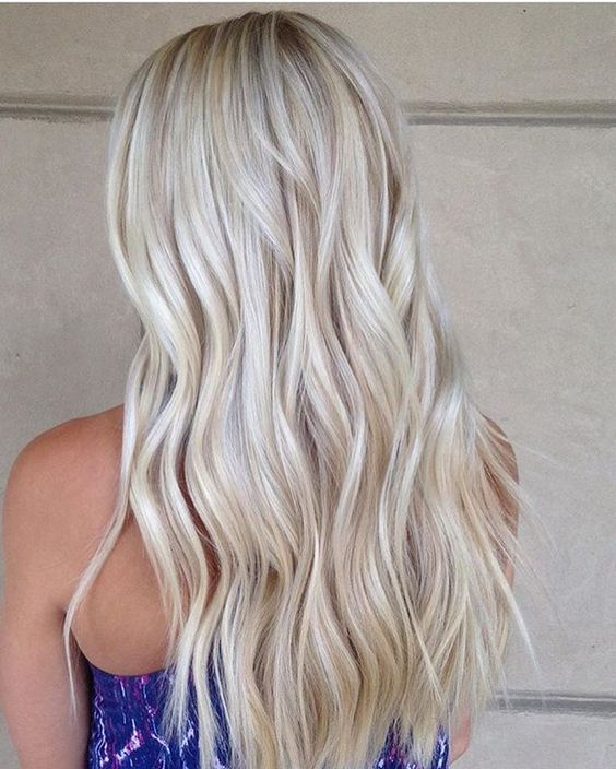 pearl and icy blonde long wavy hair