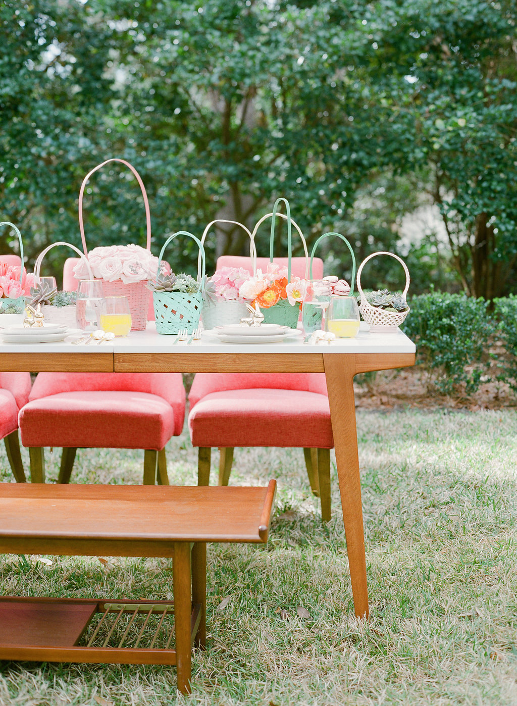 wedding tables - photo by The Happy Bloom http://ruffledblog.com/happy-bright-easter-party-inspiration