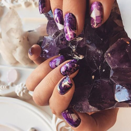 amethyst gemstone nails