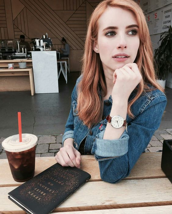 Emma Roberts rocking blorange hair