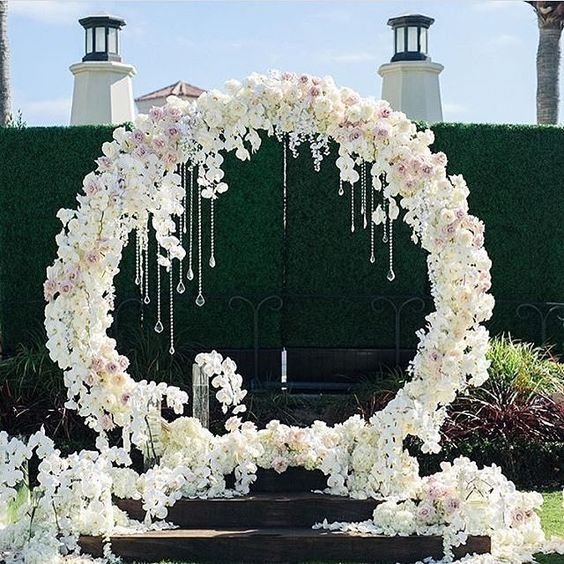 breathtaking white floral wreath with hanging crystals