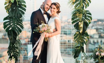 This glam wedding shoot is inspired by the tropics and is done in pink and gold