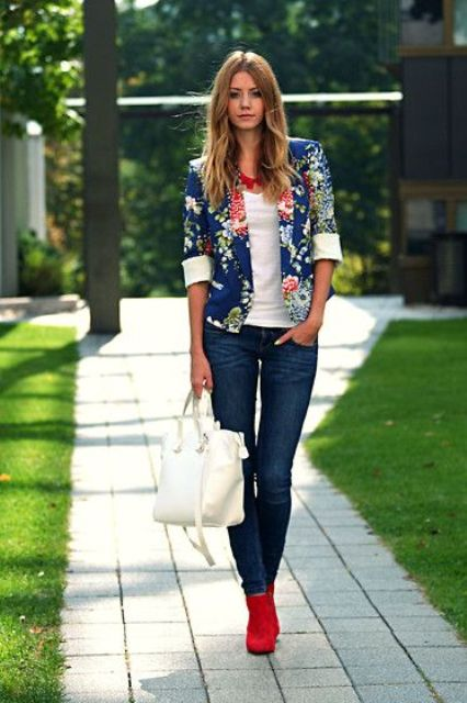 navy denim, a white top, red booties and a blue floral blazer