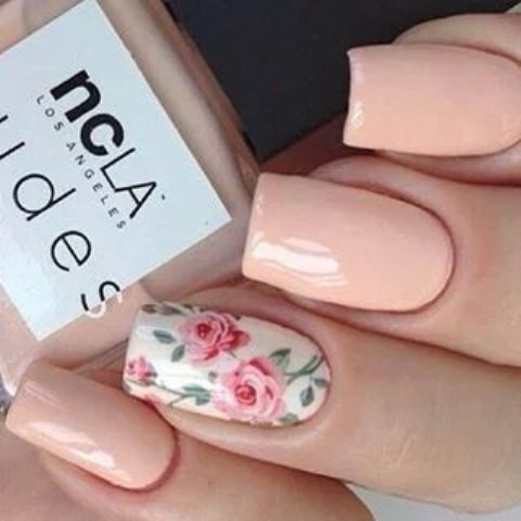 peachy nails with one accent pink roses nail