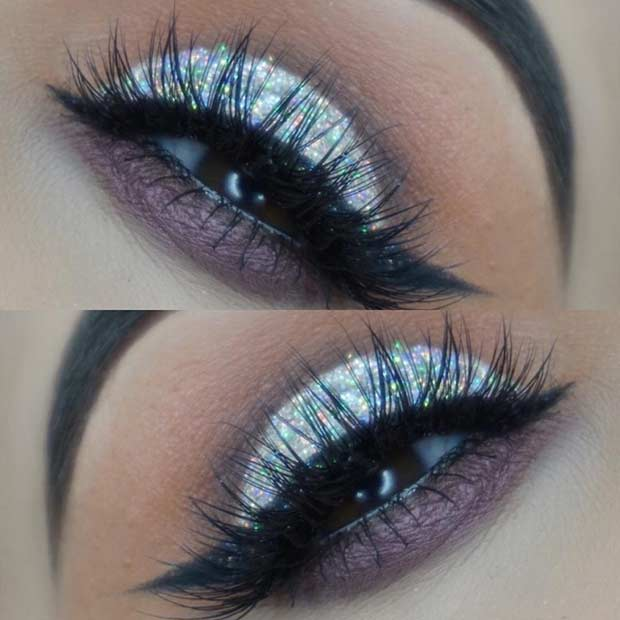 Silver Glitter Cut Crease Eye Makeup Idea for Brown Eyes