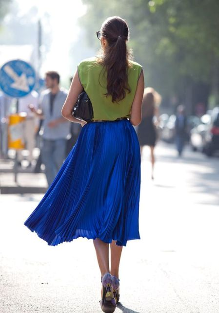 With green top and pumps