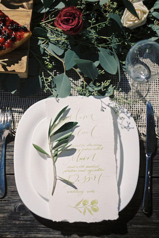Green calligraphy wedding menu | Svetlana Cozlitina Photography