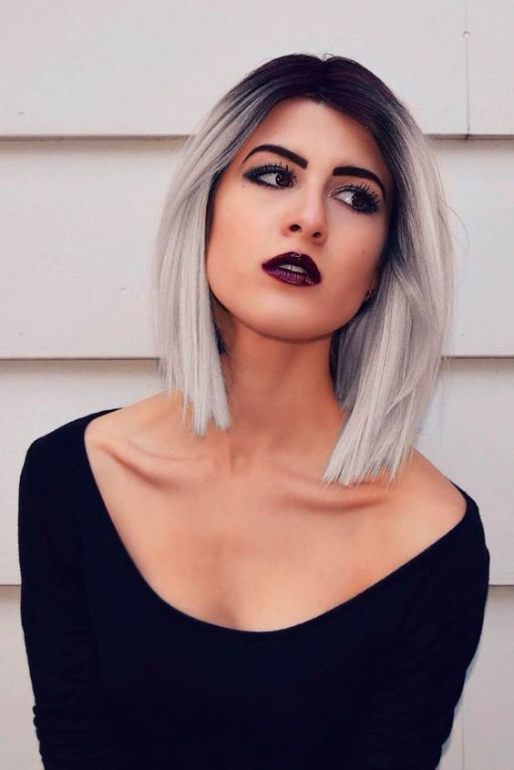 short black hair into silver blonde hair with a light ombre effect