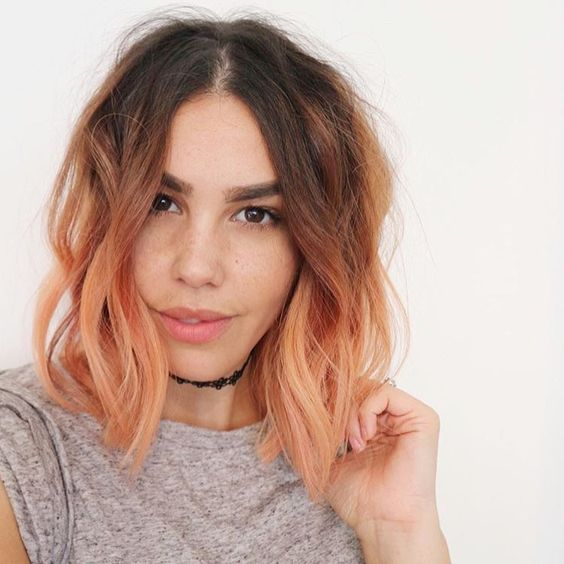 short dark hair with blorange balayage