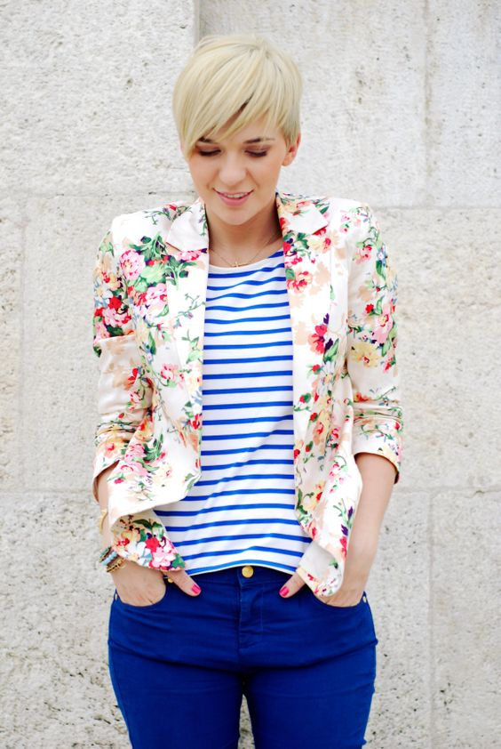 bold blue jeans, a striped shirt and a cute floral blazer