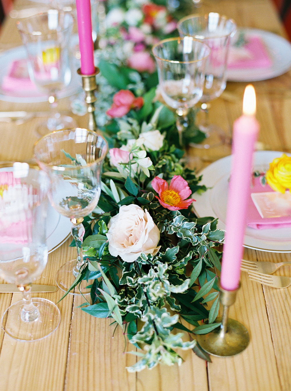 greenery table runners - photo by Jessica Gold Photography http://ruffledblog.com/vibrant-summer-wedding-inspiration-with-fun-colors