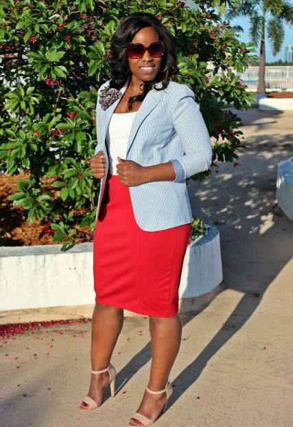 With white top, blue blazer and nude sandals