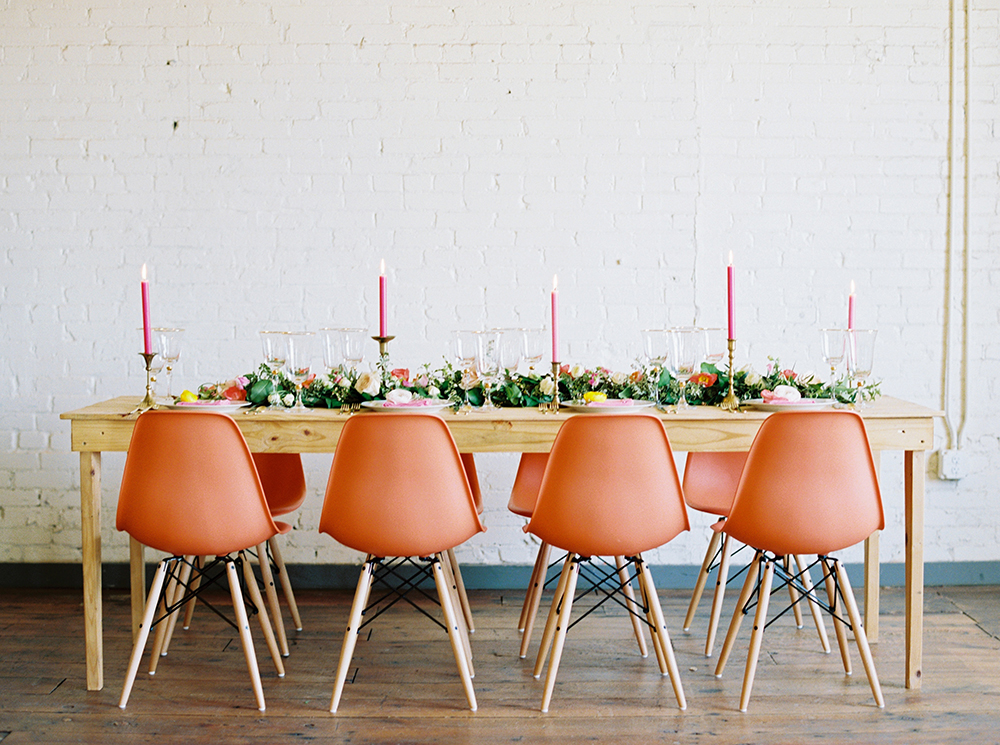 wedding reception tables - photo by Jessica Gold Photography http://ruffledblog.com/vibrant-summer-wedding-inspiration-with-fun-colors
