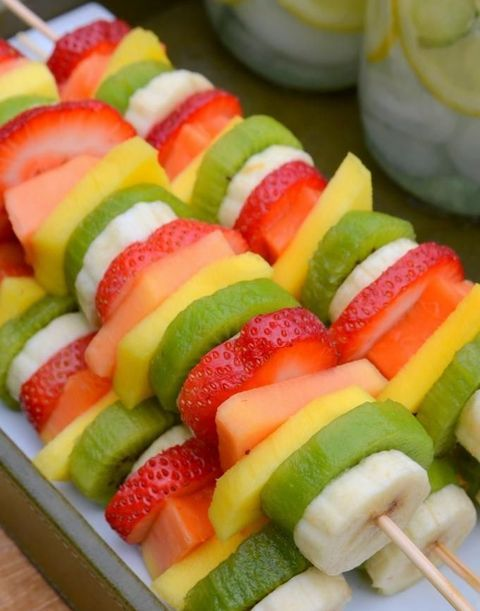 fresh fruit skewers are yummy and juicy