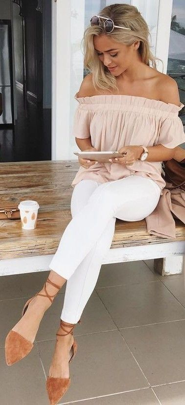 a blush off the shoulder blouse, white jeans and suede lace up flats
